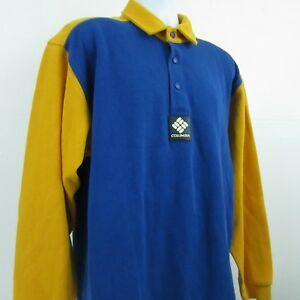Columbia-Sport-Vintage-Mens-L-S-Colorblock-Rugby-Polo-Shirt-Sz-L-Blue-Yellow
