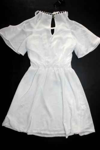NWT bebe XS S M L white embellished neck cutout sleeve flare  top dress