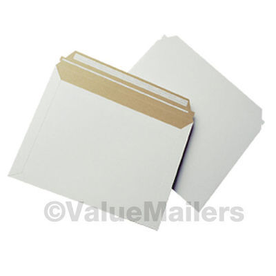 """100 - 12.5"""" x 9.5"""" Self Seal White Photo Stay Flats Cardboard Envelope Mailers"""