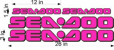 SEA-DOO-3D HOT PINK-LOGO-3x26-DECAL-SET-GRAPHIC-STICKER-PACKAGE REPLACEMENT