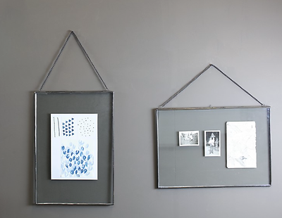 "Nkuku Kiko Photo Frame Zinc Double Sided GLASS Landscape 5x7/"" 12x17cm"