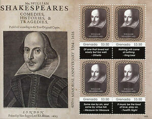 Fougueux Grenade 2016 Neuf Sans Charnière William Shakespeare 400th Memorial Anniv 4v M/s Ii Timbres