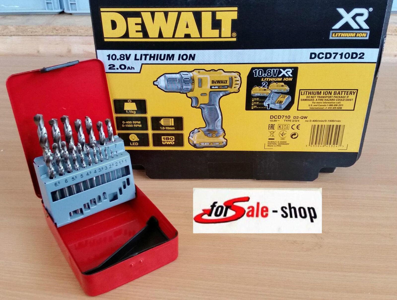 DEWALT DCD710D2 LITHIUM ION 10,8V 2,0AH BOHRSCHRAUBER + GRATIS BOHRSET 1 - 10