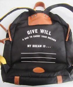 Image is loading RARE-GIVE-WILL-BLACK-LEATHER-CANVAS-BACKPACK-YELLOW- 3a28368c49cc