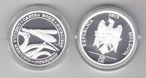 MOLDOVA-SILVER-PROOF-50-LEI-COIN-2013-YEAR-RED-BOOK-DAMSELFLY-BOX-COA
