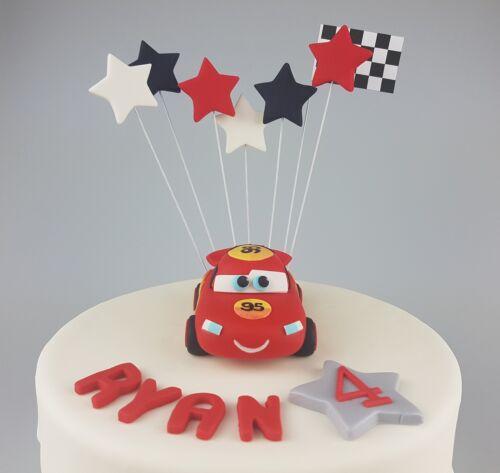 Edible 3D Racing Cars Cake Topper Birthday Name Age Lightning
