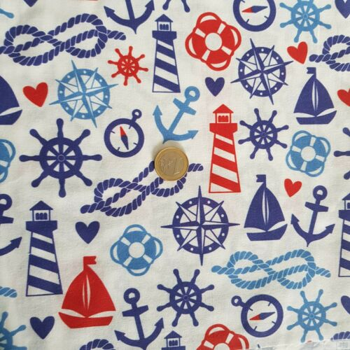 50 x 50 algodón coser Sustancia restos sustancias marítimo patchwork 25 x 150