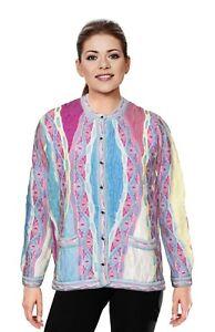 Geccu 3D Multi Colour Merino Wool V Cardigan Sweater Knitwear Coogi Look