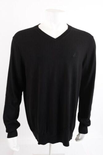 Nautica Mens Sweater Size X-Large XL Black V-Neck