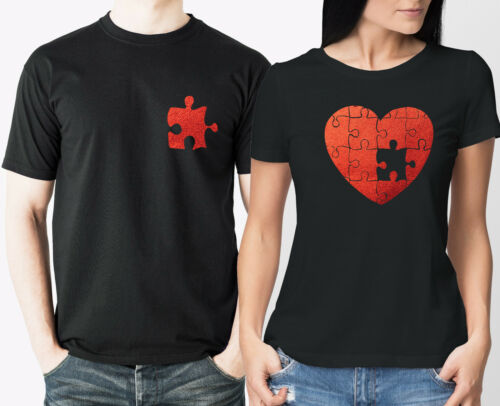 Couples Valentine/'s Metallic red Heart puzzle black t-shirts set  love day