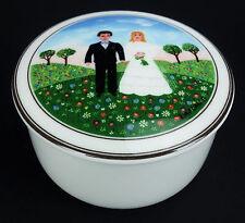 Villeroy & Boch Naif Wedding Retired Pattern Trinket Box Bride Groom Sm Size