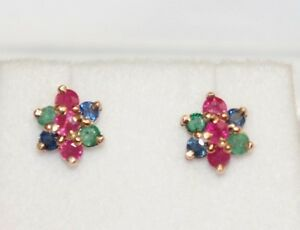 14k-Solid-Yellow-Gold-Flower-Stud-Earrings-Mix-Ruby-Sapphire-Emerald-1-5TCW