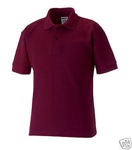 Russell 539b Plain Burgundy School Polo Shirts 3 12yr Ebay