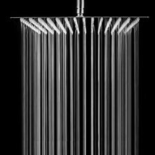 HotelSpa Large 8 Inch Stainless Steel Slimline Square Rainfall Showerhead With S