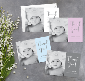Personalised-New-Baby-Thank-You-Cards-Name-Weight-Baby-Photo-Boy-Girl