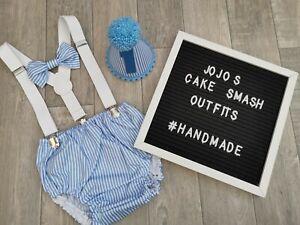 Handmade. Baby Boys 1st Birthday Cake Smash Outfit// Prop Blue stripe// White