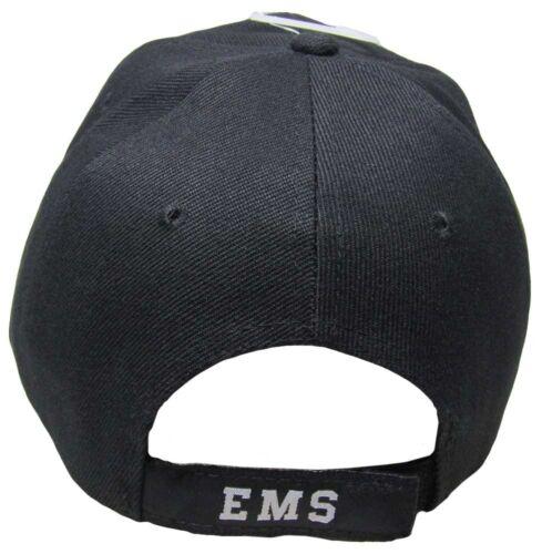 Embroidered Black EMS Emergency Medical Service Grey Shadow Baseball Cap Hat