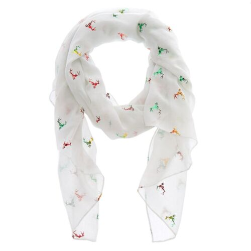 Claire/'s Christmas Holiday Reindeer Foil Scarf Women/'s One Size New