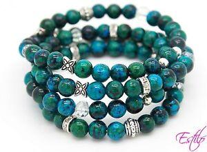 Image Is Loading Handmade Semi Precious Stone Bracelet Chrysocolla Beads 4