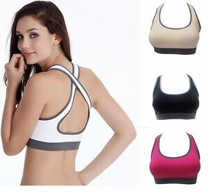 Womens Seamless Racerback Fitness Yoga Gym Sports Bra Stretch Workout Tank Top