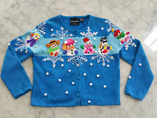Michael Simon New York Christmas Snowman 2000 cardigan Sweater  Size M