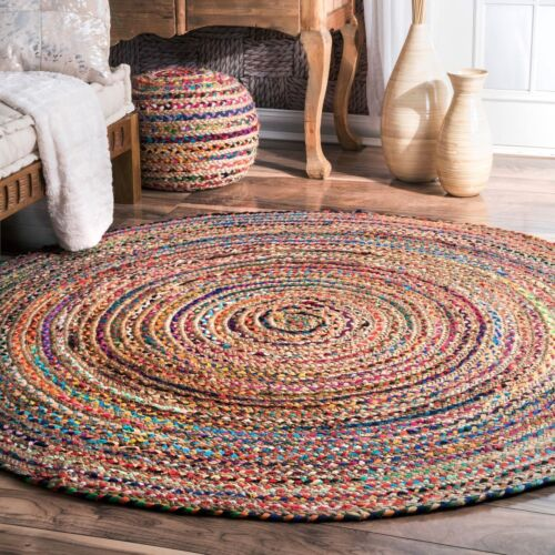 3 /& 5 Feet Braid Cotton and Jute Indian Multi Color Round Floor Rug Yoga Mat 2