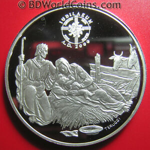 1999-ANDORRA-10-DINERS-94oz-SILVER-PROOF-MILLENNIUM-2000-JUBILEE-BIRTH-OF-JESUS