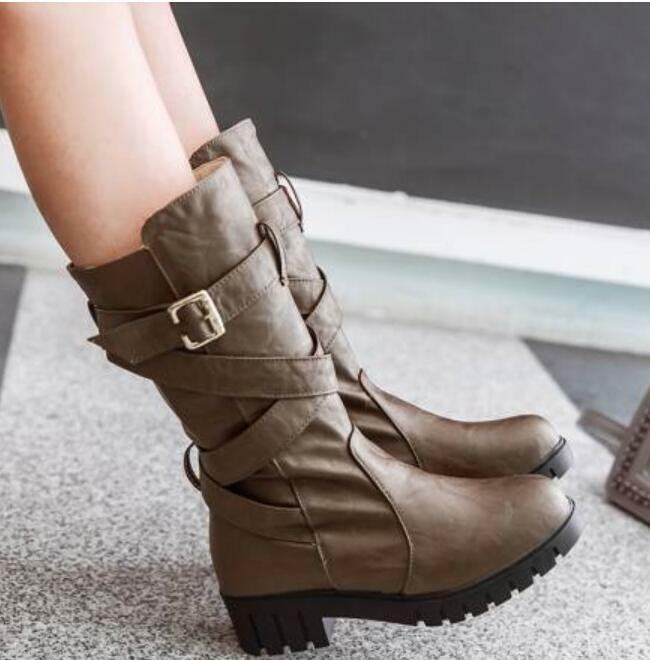 Womens Buckle Mid Calf Boots Buckle Vintage Oxford Casual Fashion Flat shoes