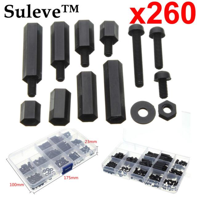 260pcs M3 Spacer Nylon Black Hex Screw Nut Standoff PCB Assortment Box Kit