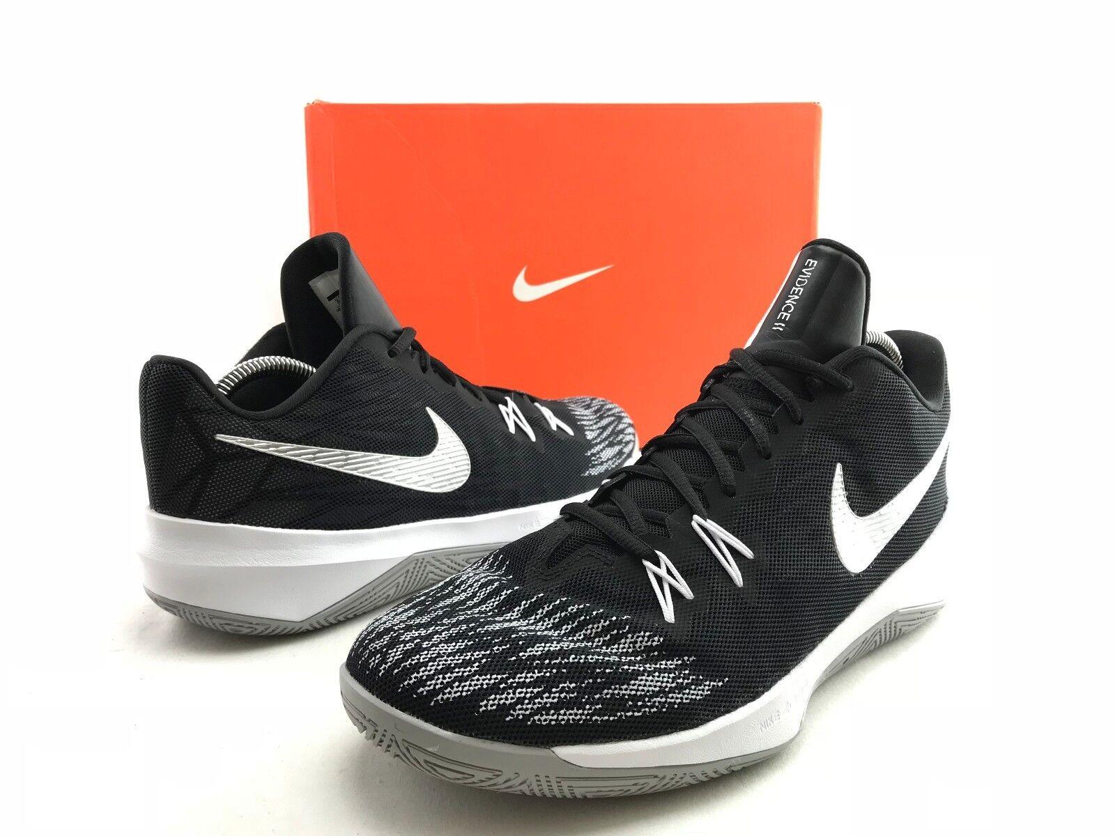 Nike Zoom evidencia II EP hombres blanco negro zapatos 9,5 de baloncesto zapatillas US 9,5 zapatos b956 4b9caf