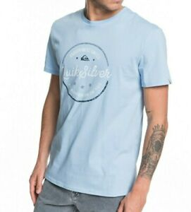QUIKSILVER-MENS-T-SHIRT-NEW-MENTAL-NOTES-BLUE-COTTON-SHORT-SLEEVED-TOP-9W-93BF