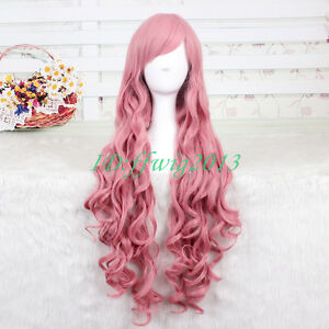 90cm long Gumdam Lacus Clyne cosplay wig pink wave curly wig + a wig cap