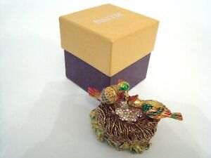 RUCINNI-Jeweled-Trinket-Hinged-Box-Two-Birds-and-Bird-Nest-with-Jeweled-Eggs