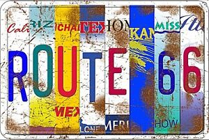 Route-66-Licence-Plates-embossed-metal-sign-305mm-x-205mm-sf