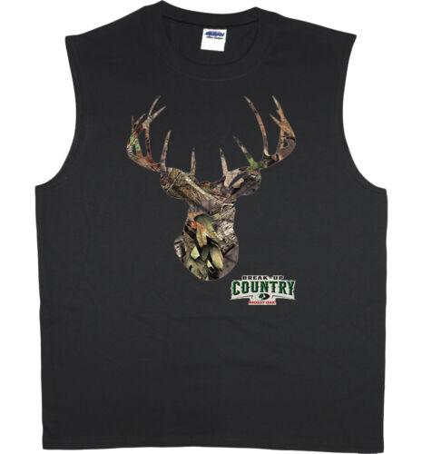 Men/'s sleeveless shirt Mossy Oak deer hunting decal design tank top muscle tee