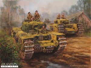 Details about WW2 Military Art Post Card Battle Normandy,British Churchill  tanks 147 Rehiment