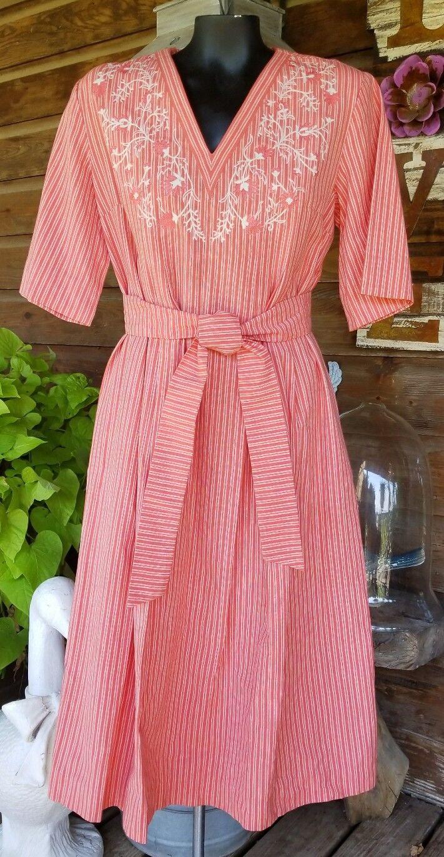 Vintage TREACY LOWE Embroidered 100% India Cotton MAXI BOHO Hippie Dress Sz 16