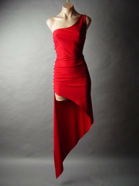 Red Sequined Beaded Asymmetrical Cha Cha Cocktail Latin Salsa Dance fp Dress S