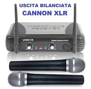 COPPIA-MICROFONI-WIRELESS-RADIO-VHF-BI-CANALI-GELATO-KARAOKE-PIANOBAR-LIVE-new