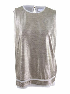 Calvin-Klein-Women-039-s-Plus-Size-Sleeveless-Metallic-Blouse