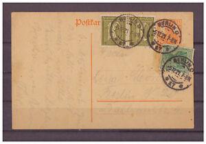 Deutsches-Reich-Infla-Ganzsache-P-110-ZuF-innerhalb-Berlin-05-12-1921