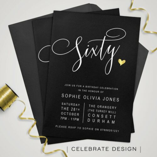 2 Sur 12 Birthday Invitations Personalised Party Invites O 18th 21st 30th 40th 50th 60th
