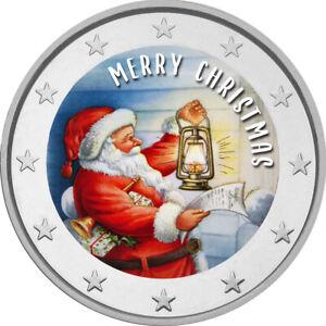 2-Euro-Gedenkmuenze-mit-Merry-Christmas-coloriert-Farbe-Farbmuenze-Weihnachten