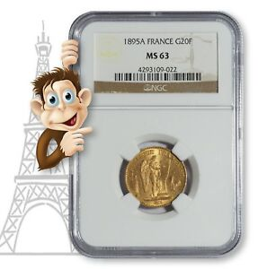 1895A-Gold-20-Franc-NGC-MS63-034-Lucky-034-Angel-Coin-10011