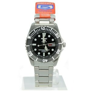 SEIKO 5 Submariner SNZF17 SNZF17J1 Black Dial Stainless Steel Automatic Watch