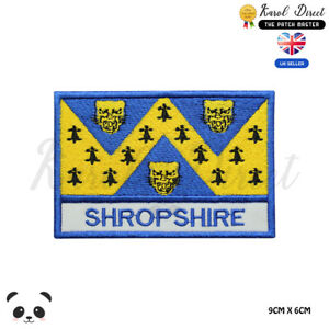 SHROPSHIRE-England-County-Flag-With-Name-Embroidered-Iron-On-Sew-On-Patch-Badge