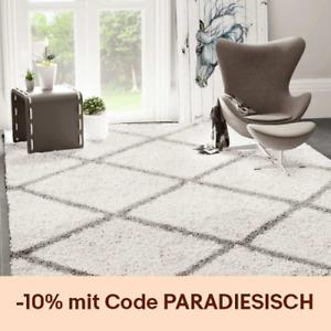 Prime Shaggy Teppich Rauten Design Creme Grau Modern