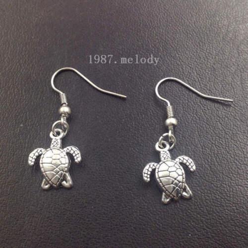 Turtle earrings,Silver handmade ear stud,Fashion charm jewelry pendants,Gift