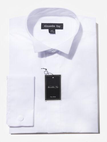 Alexander foin pour homme blanc formelle robe de soirée chemises col cassé noeud papillon DW001
