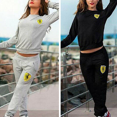 2015 Sports Leisure Suits Yoga Jogging Running Pant Cropped Shirt Top Two Pieces